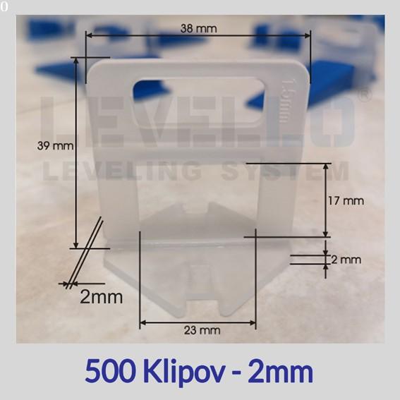 Nivelačné klipy Eko 2 mm, 500 kusov