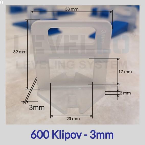 Nivelačné klipy Eko 3 mm, 600 kusov