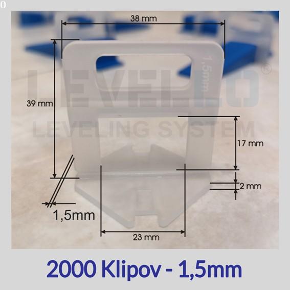 Nivelačné klipy Eko 1,5 mm, 2000 kusov