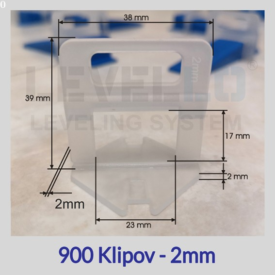 Nivelačné klipy Eko 2 mm, 900 kusov