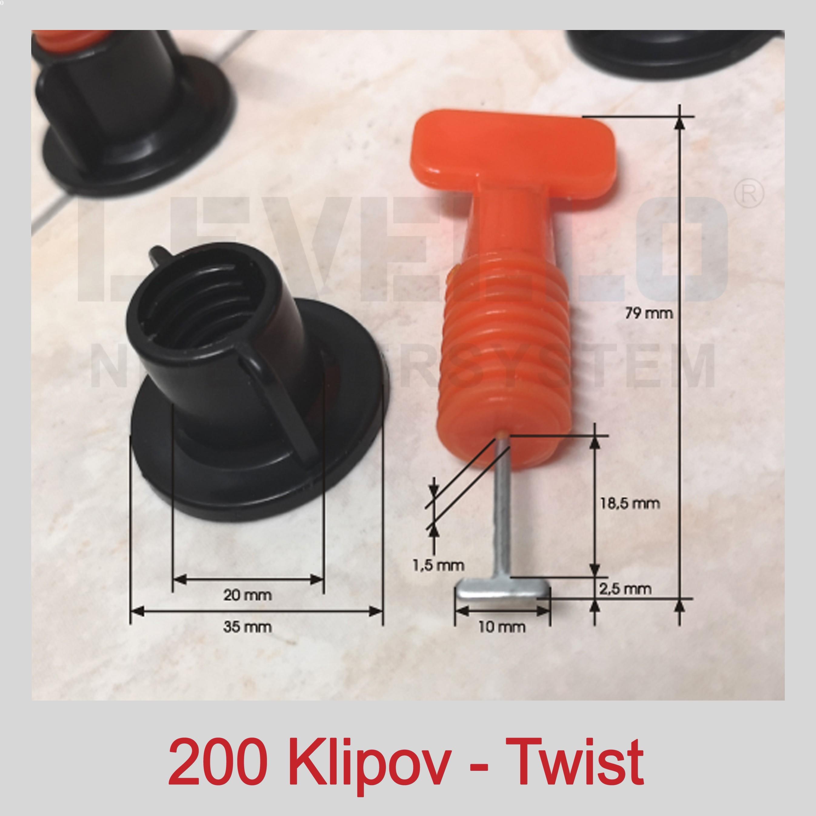 Nivelačné klipy Twist, 200 kusov