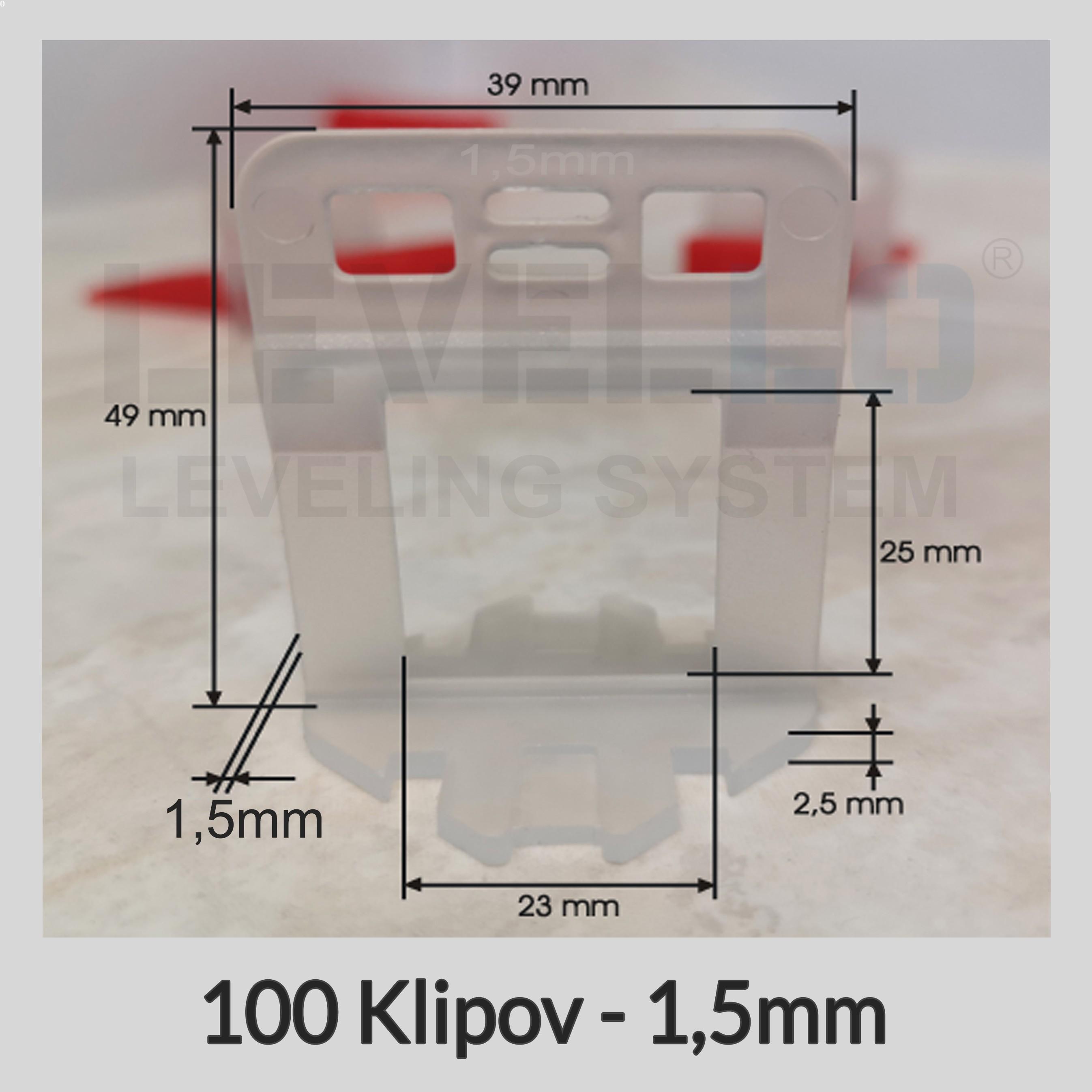 Nivelačné klipy Dlhé 1,5 mm, 100 kusov