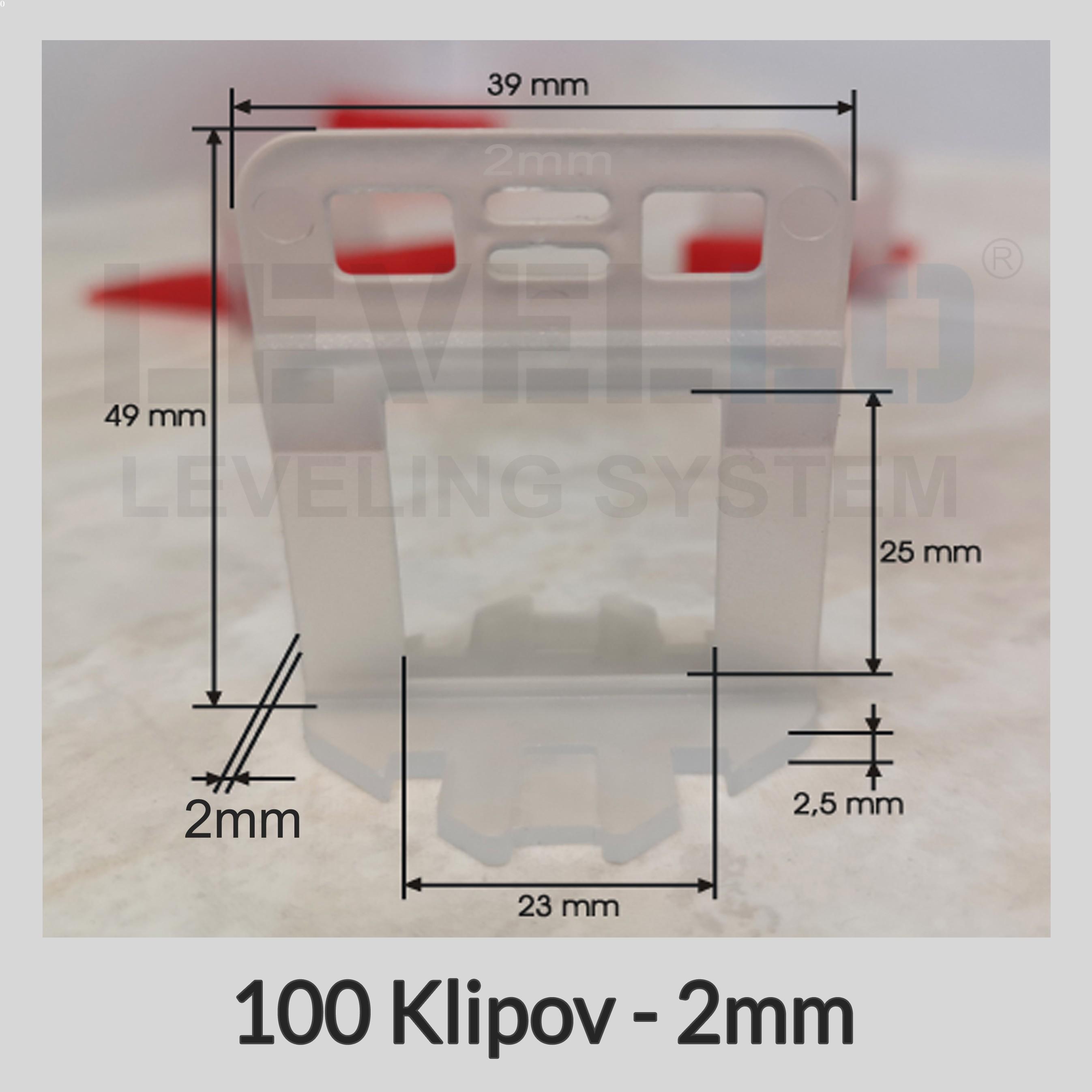 Nivelačné klipy Dlhé 2 mm, 100 kusov