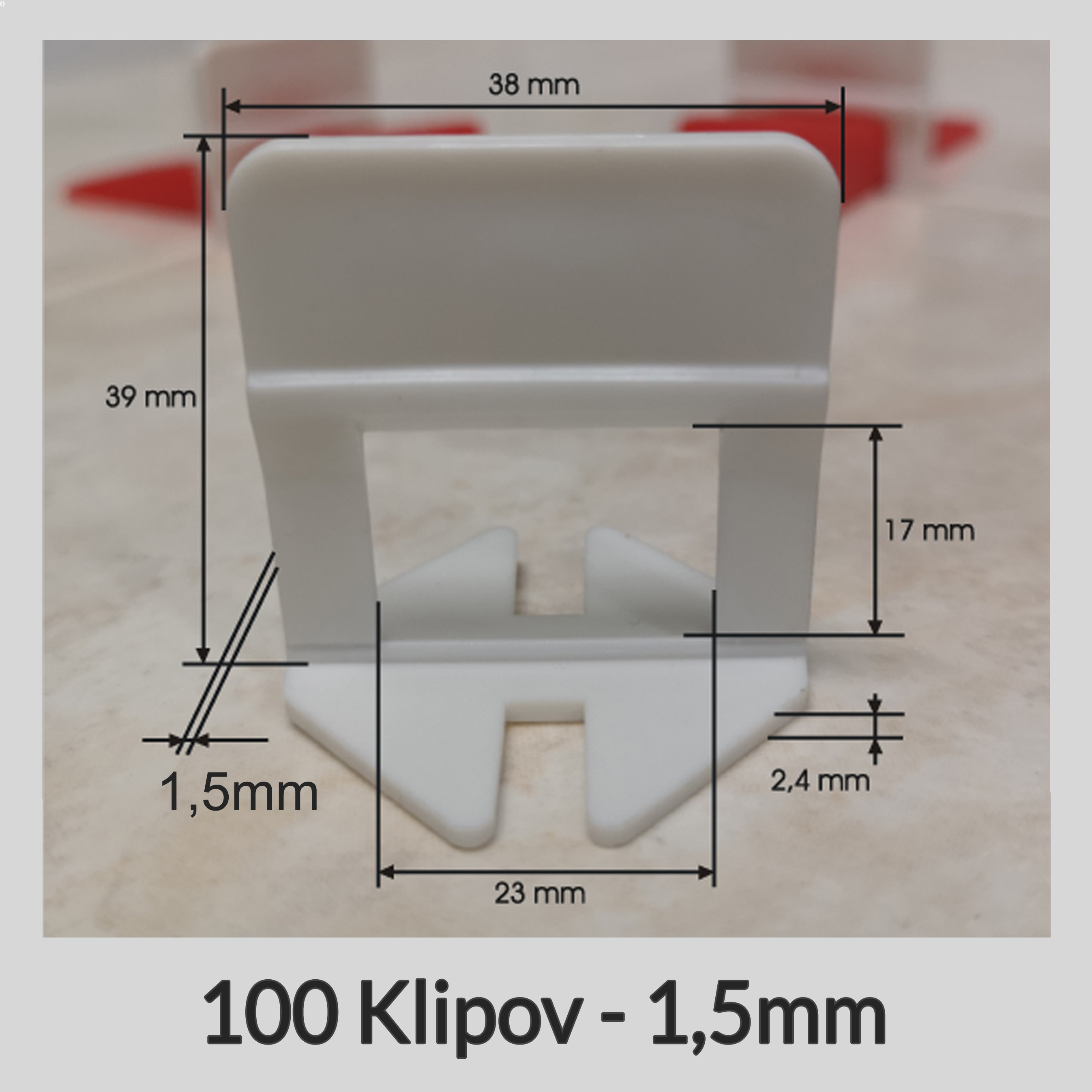 Nivelačné klipy Klasik B 1,5mm, 100 kusov