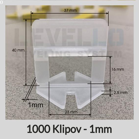 Nivelačné klipy Klasik 1 mm, 1000 kusov