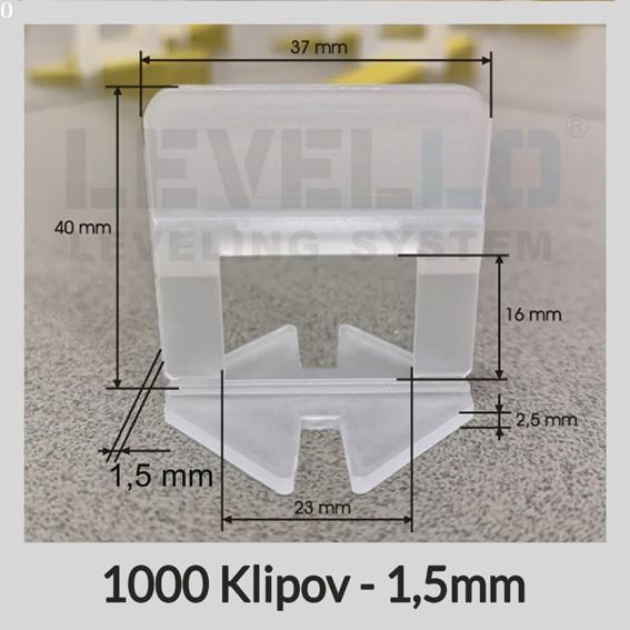 Nivelačné klipy Klasik 1,5 mm, 1000 kusov