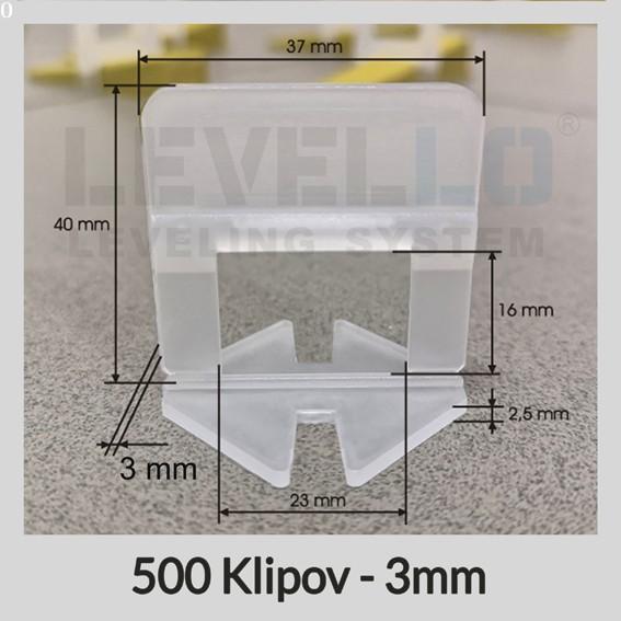 Nivelačné klipy Klasik 3 mm, 500 kusov