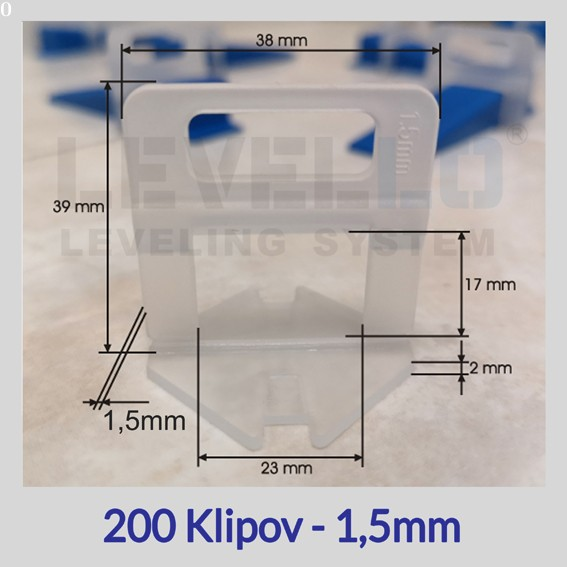 Nivelačné klipy Eko 1,5 mm, 200 kusov
